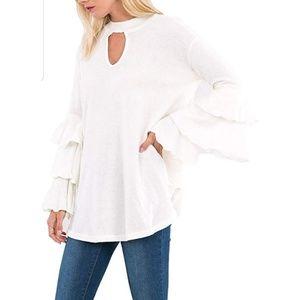 {S} Love In Triple Ruffle Bell Sleeve Sweater